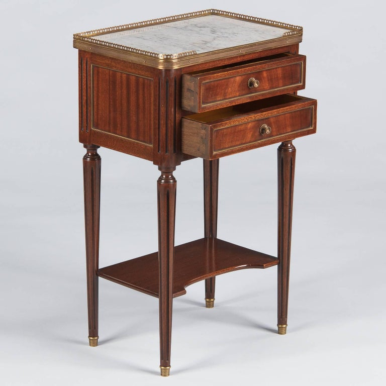 Louis XVI Style Marble-Top Bedside Cabinet, 1920s For Sale 1