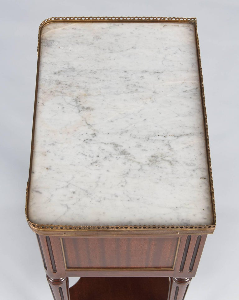 Louis XVI Style Marble-Top Bedside Cabinet, 1920s For Sale 4