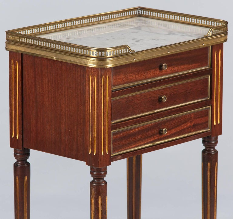 French Louis XVI Style Marble-Top Bedside Cabinet, 1920s For Sale