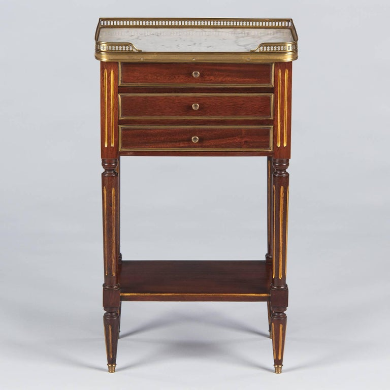 20th Century Louis XVI Style Marble-Top Bedside Cabinet, 1920s For Sale