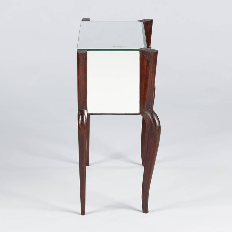 Mid-Century Modern Midcentury Mirrored Venetian Glass and Rosewood Two-Drawer Chest, 1950s For Sale