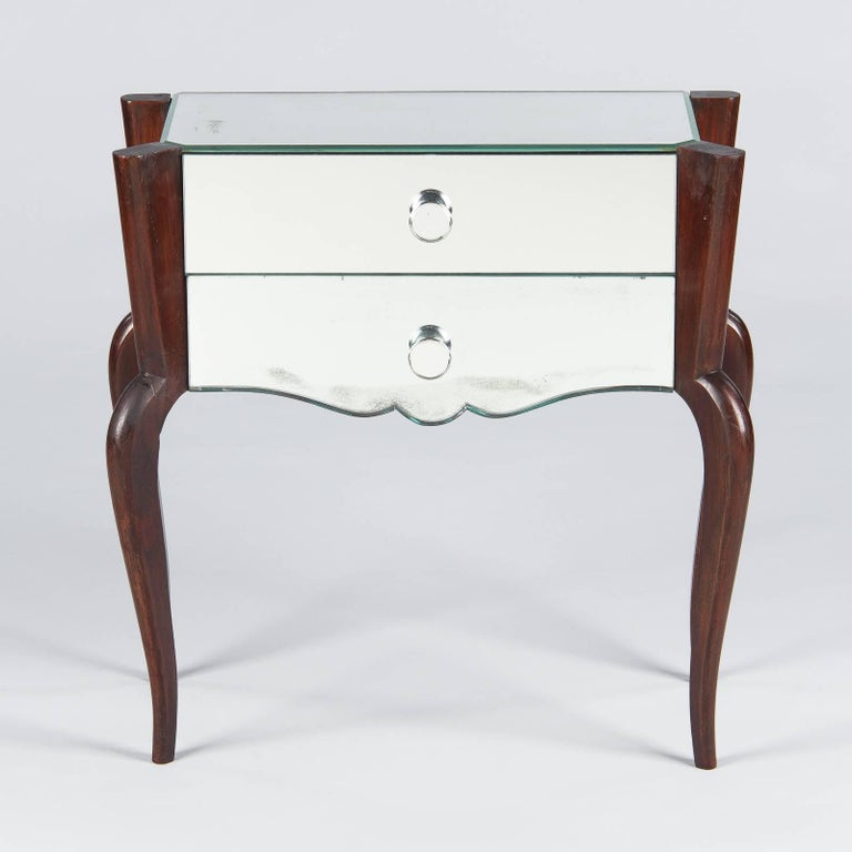 Midcentury Mirrored Venetian Glass and Rosewood Two-Drawer Chest, 1950s For Sale 1