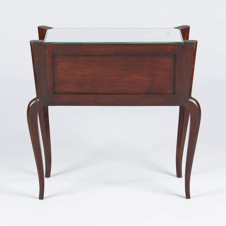 Midcentury Mirrored Venetian Glass and Rosewood Two-Drawer Chest, 1950s For Sale 2