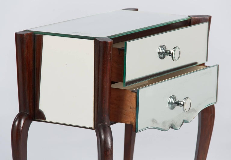 French Midcentury Mirrored Venetian Glass and Rosewood Two-Drawer Chest, 1950s For Sale