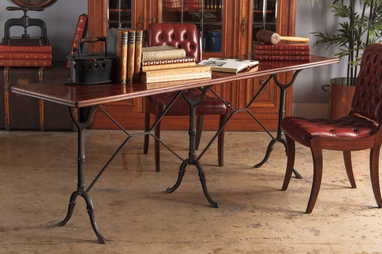 French Iron Base Bistro Table with Lacquered Wooden Top, 1920s For Sale 4