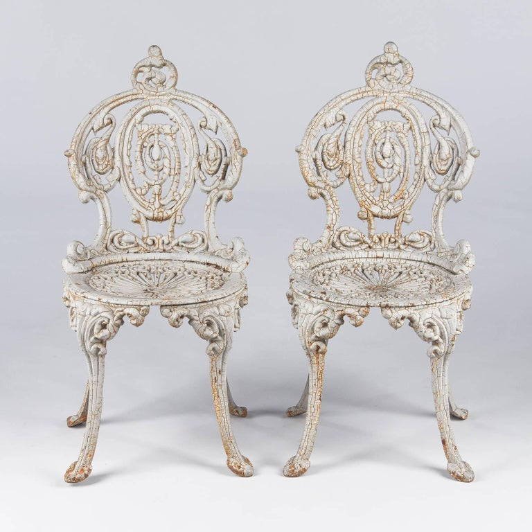 Rococo Pair Of Painted Cast Iron Garden Chairs France 1950s For