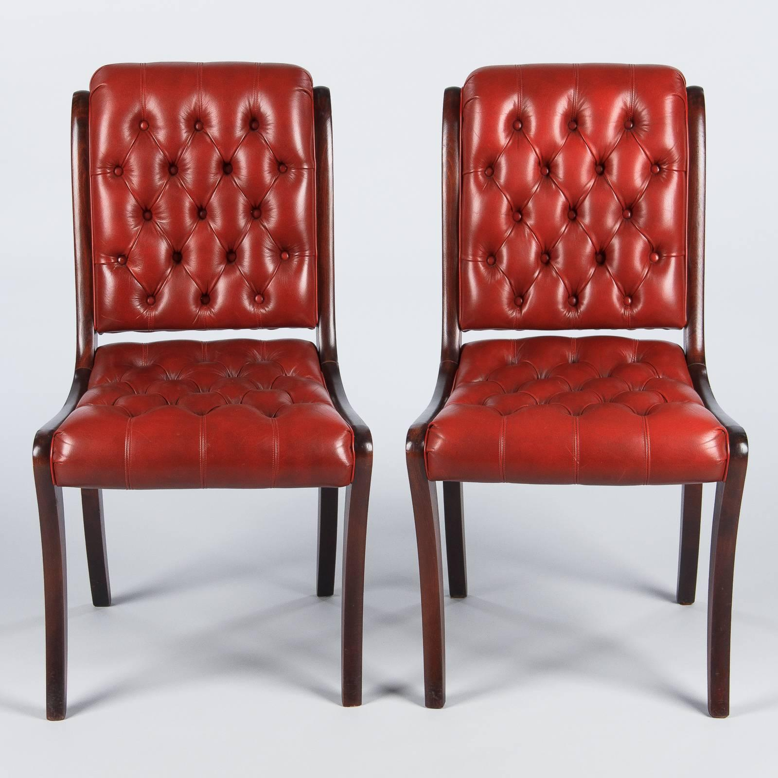 Pair Of English Mahogany And Red Tufted Leather Side Chairs, 1950s 3