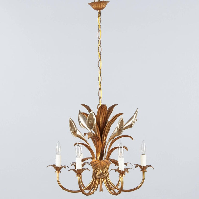 Mid-Century Modern French Gilded Metal Chandelier, 1950s For Sale