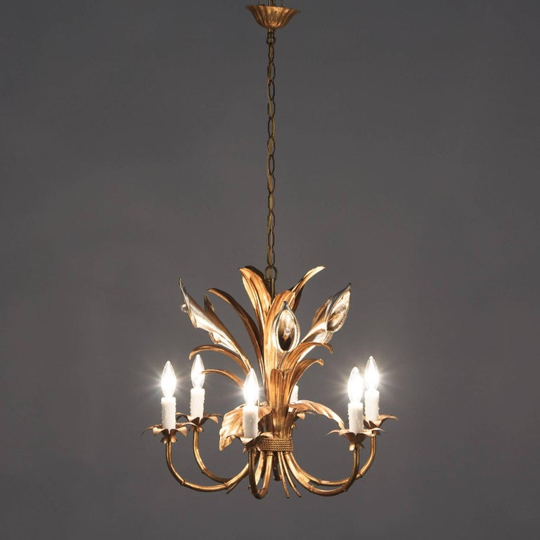 Gilt French Gilded Metal Chandelier, 1950s For Sale