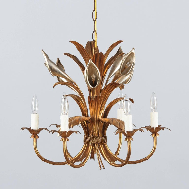 French Gilded Metal Chandelier, 1950s For Sale 3