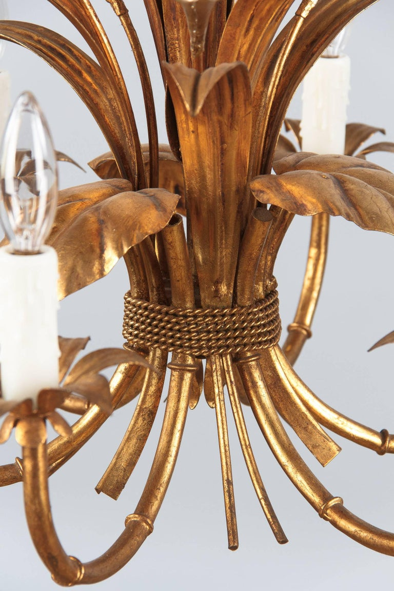 French Gilded Metal Chandelier, 1950s For Sale 2