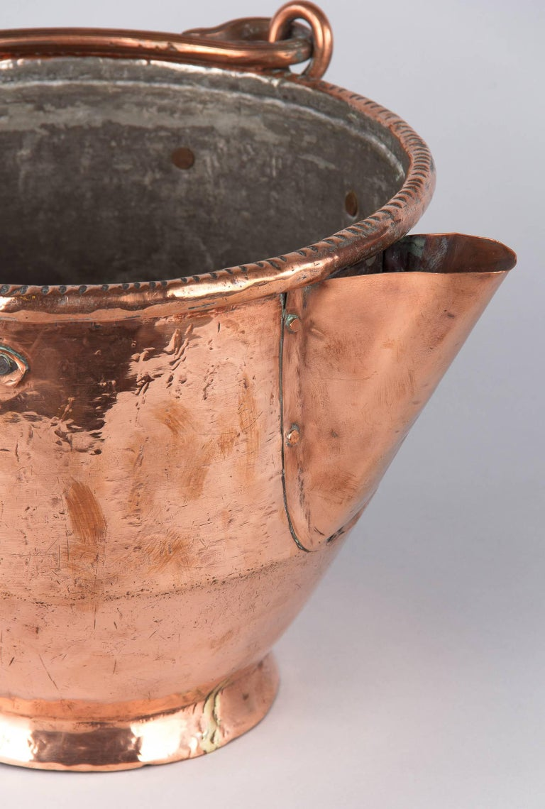 19th Century French Copper Wine Pitcher, Burgundy Region, 1900s For Sale