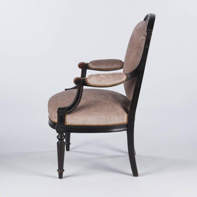 French Napoleon III Ebonized Armchair, 1870s For Sale 4
