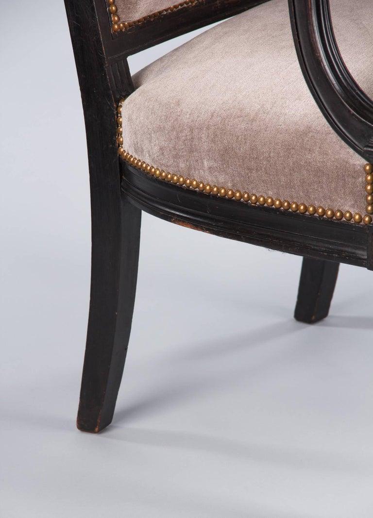 Fabric French Napoleon III Ebonized Armchair, 1870s For Sale