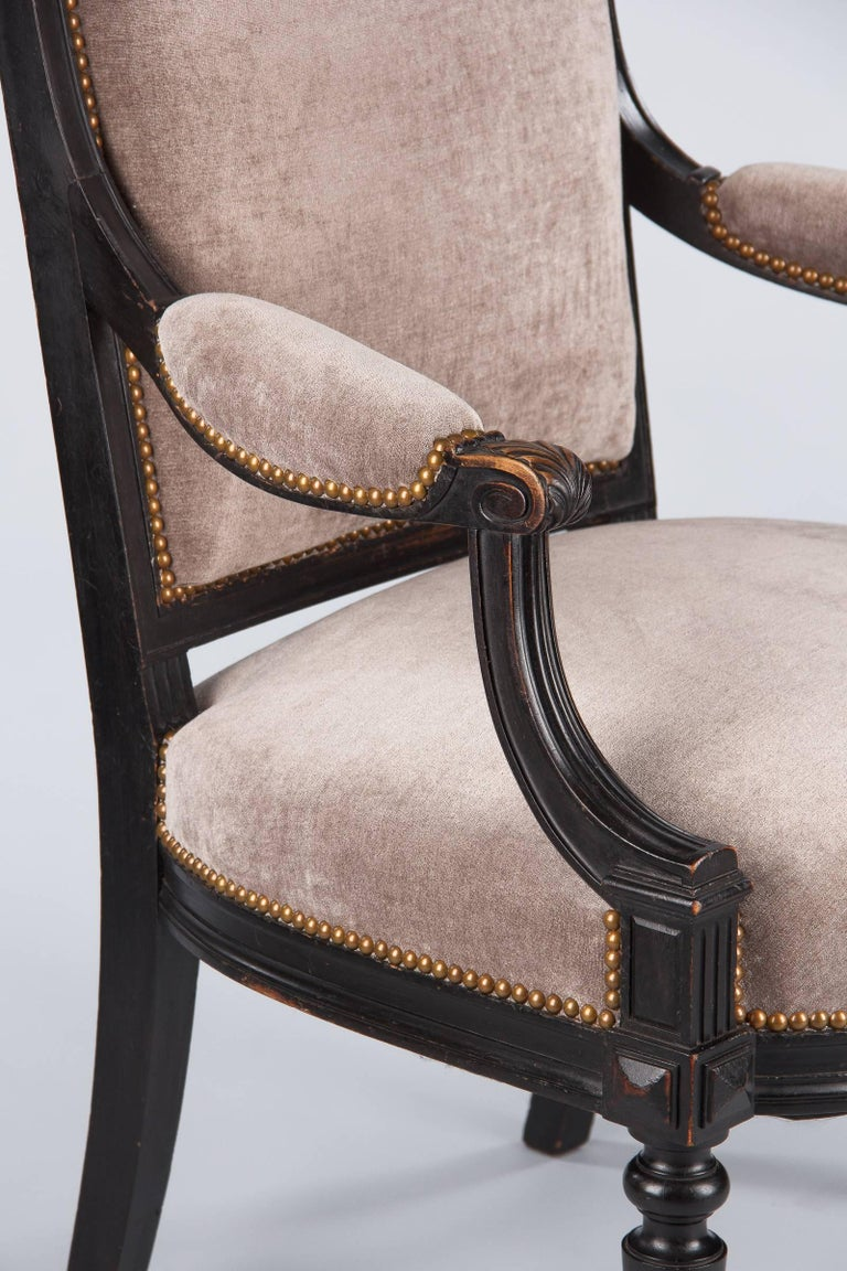 19th Century French Napoleon III Ebonized Armchair, 1870s For Sale