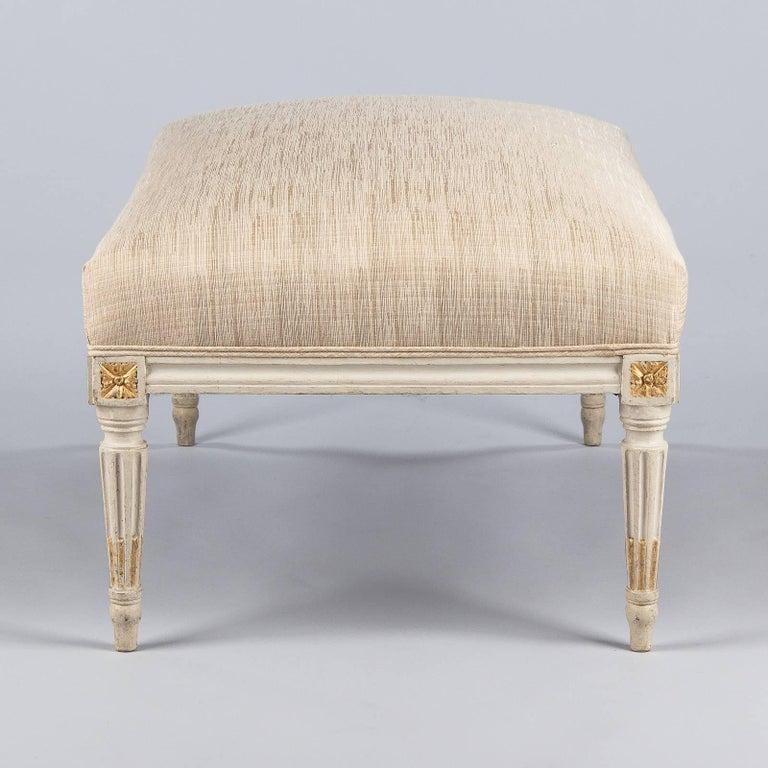 French Louis XVI Style Upholstered Painted Ottoman, France, Early 1900s For Sale