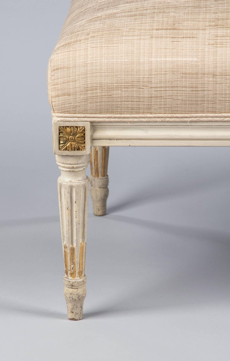 Fabric Louis XVI Style Upholstered Painted Ottoman, France, Early 1900s For Sale