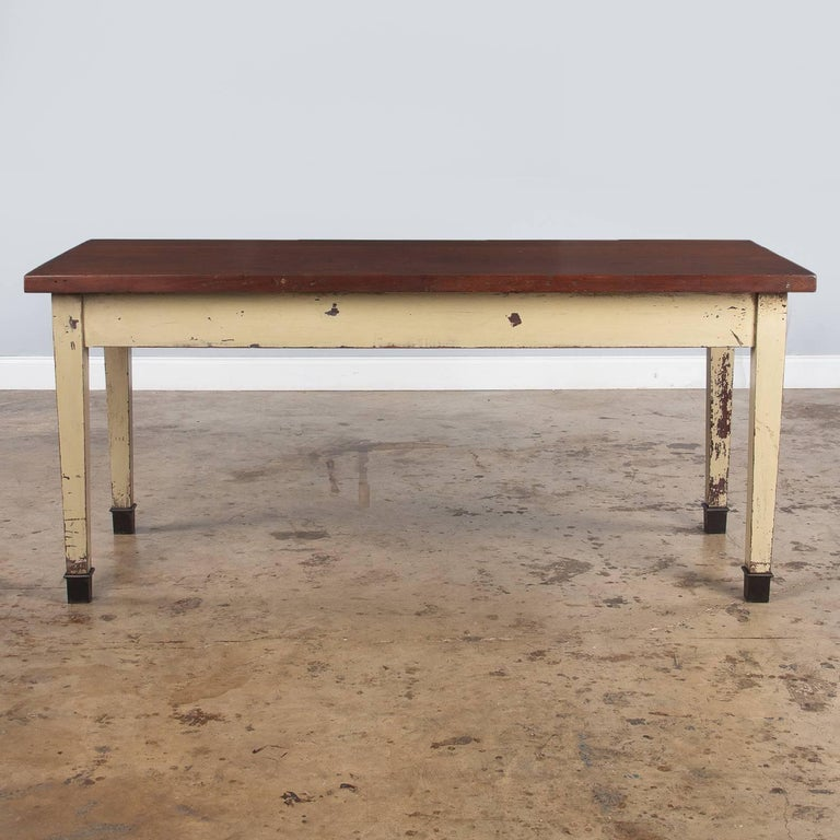French Industrial Painted Working Table, 1950s In Good Condition For Sale In Austin, TX