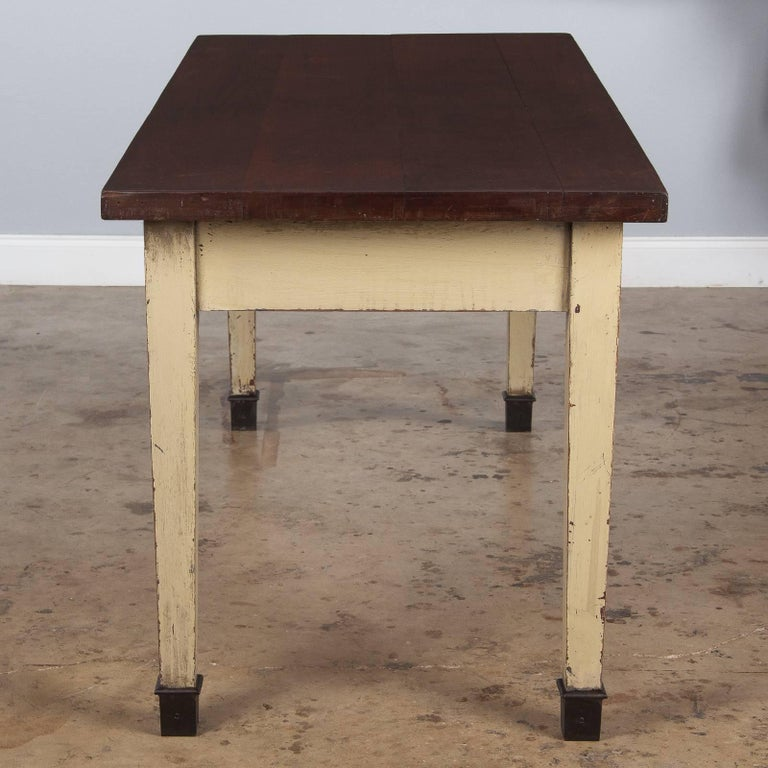 20th Century French Industrial Painted Working Table, 1950s For Sale
