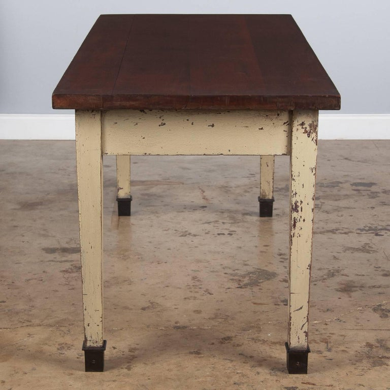 French Industrial Painted Working Table, 1950s For Sale 3