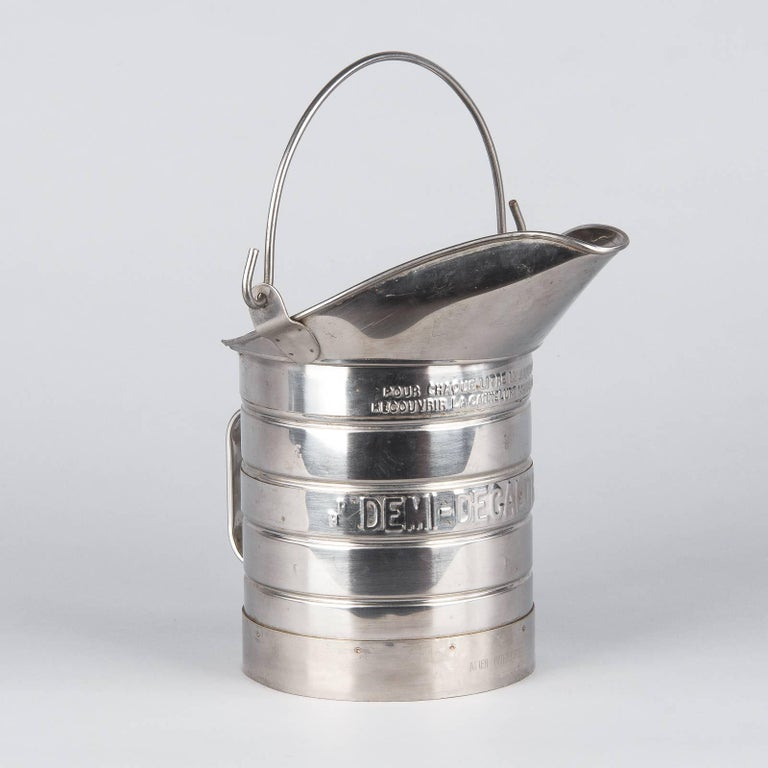 French Silver Metal Measuring Milk Pitcher, 1950s 3