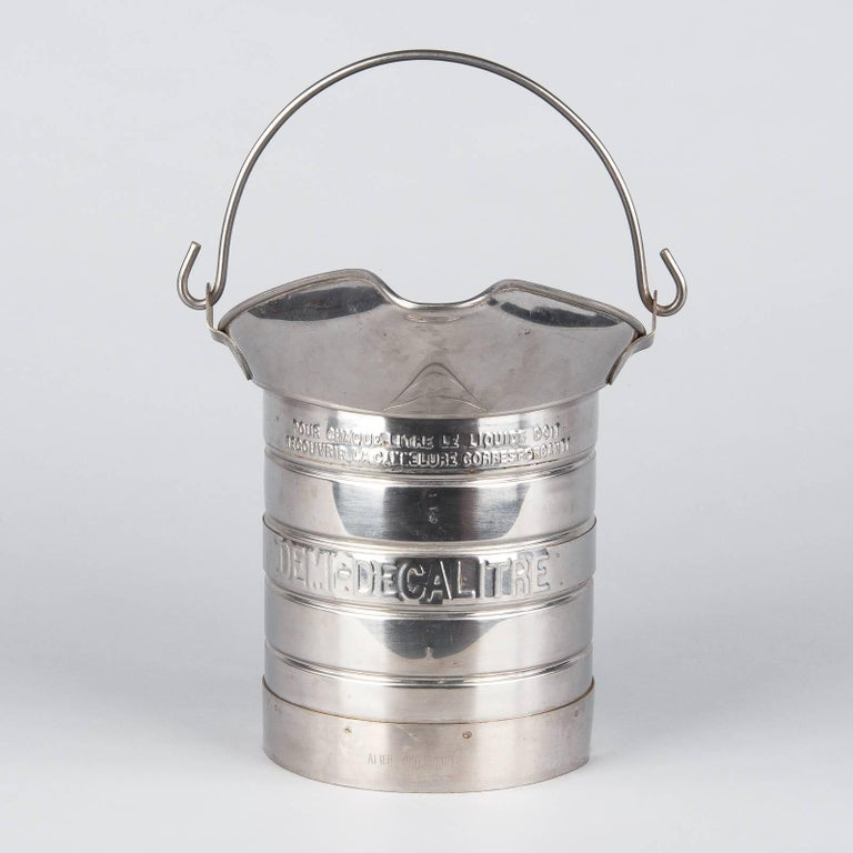 French Silver Metal Measuring Milk Pitcher, 1950s 8
