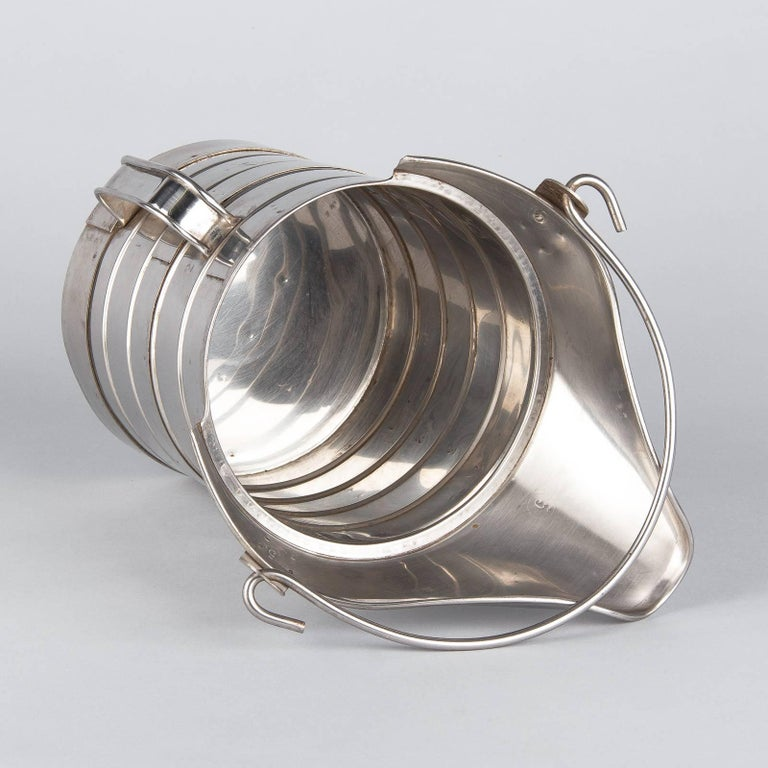 French Silver Metal Measuring Milk Pitcher, 1950s 9