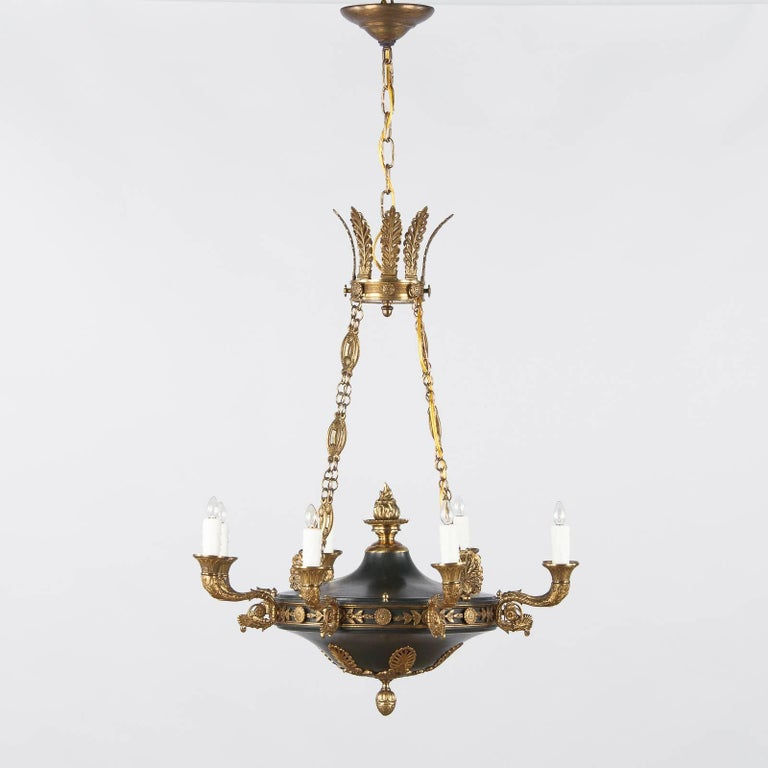 Painted French Empire Style Green Tole and Bronze Chandelier, 1900s For Sale