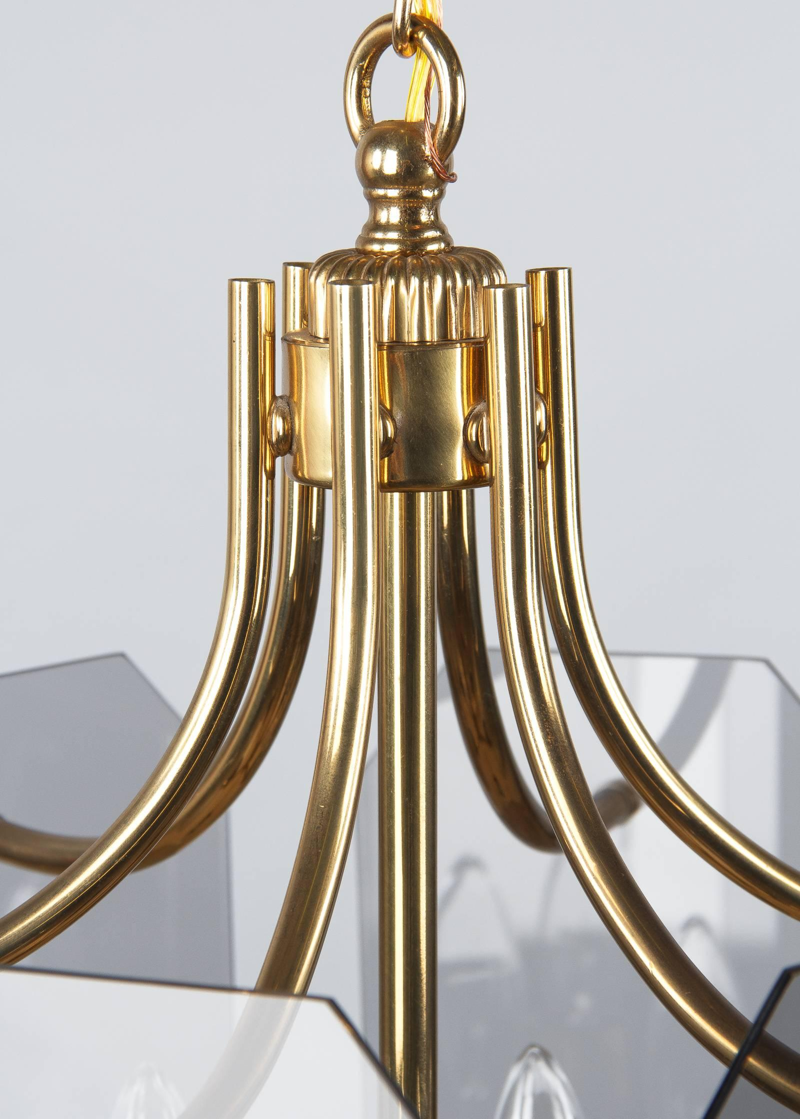 Distinctive Brass Etched Glass Chandelier, France 60s