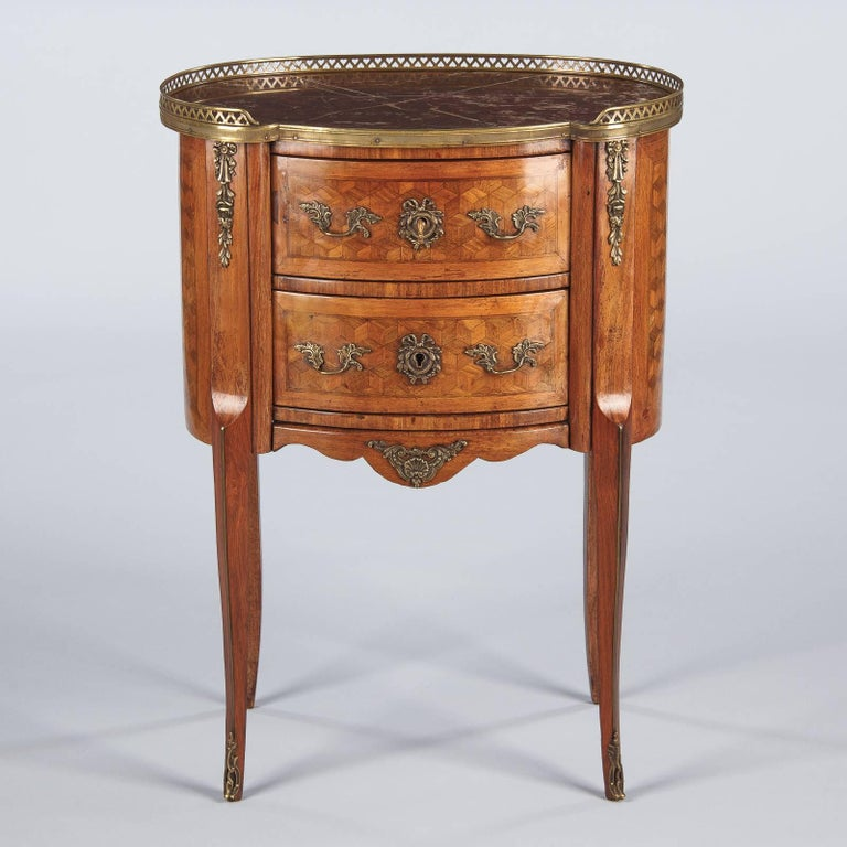 Louis XV-Louis XVI Transition Marquetry Chest with Marble Top, 1900s 3