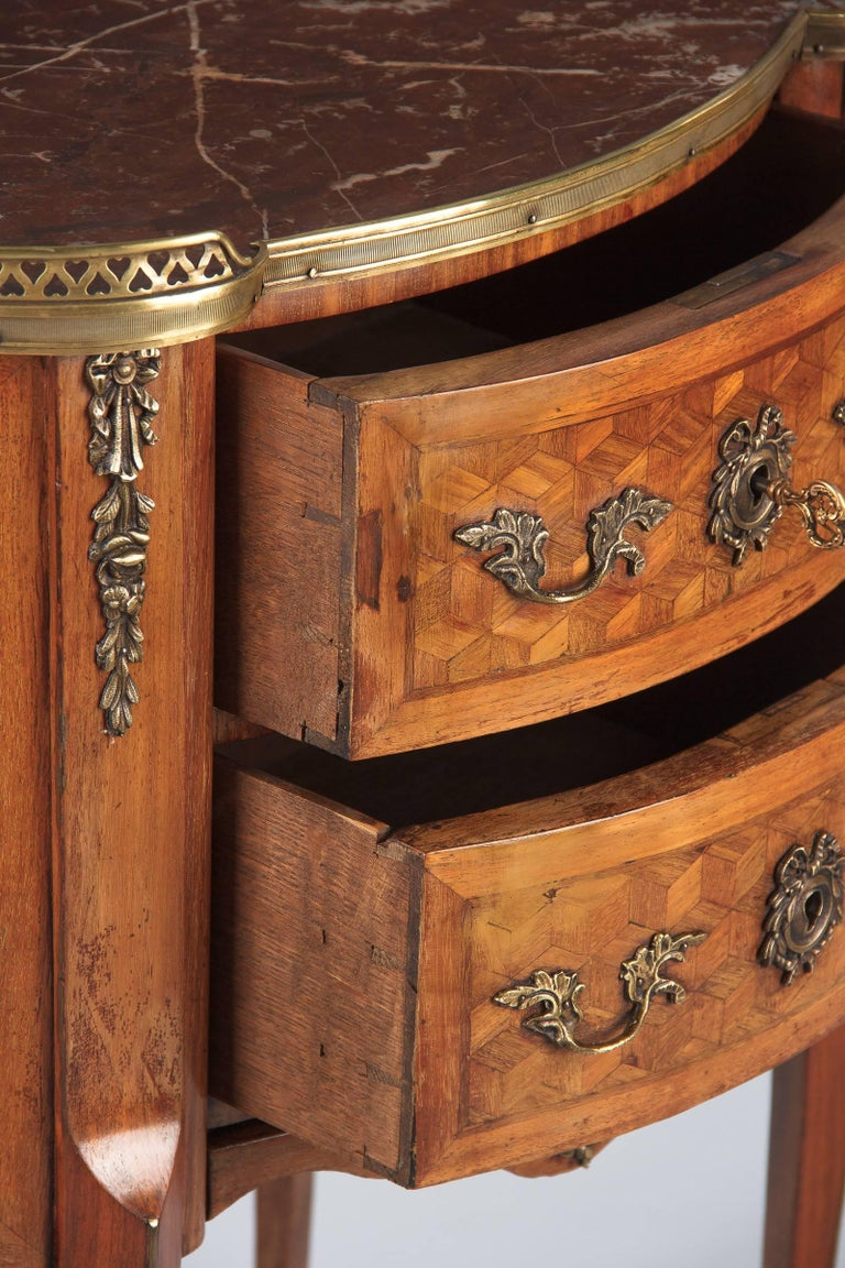 Louis XV-Louis XVI Transition Marquetry Chest with Marble Top, 1900s 4
