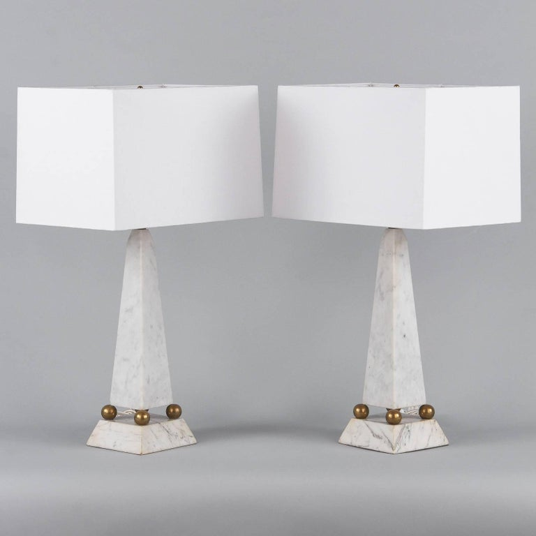 Italian Pair of Art Deco Marble Table Lamps, Italy, 1930s For Sale
