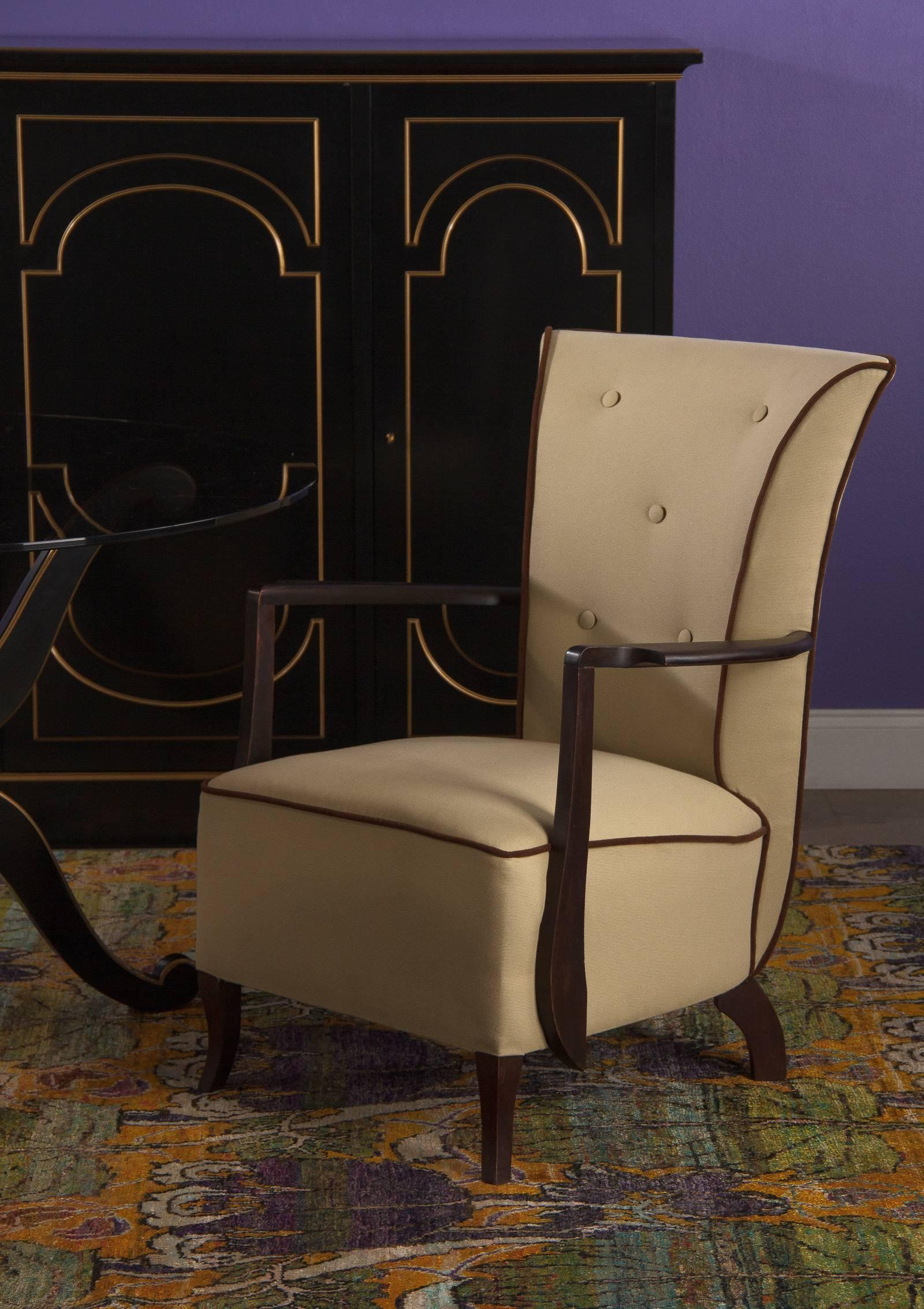 Superbe A Very Stylish Late Art Deco Armchair With Stained Beech Wood Frame And  Upholstered Seat And