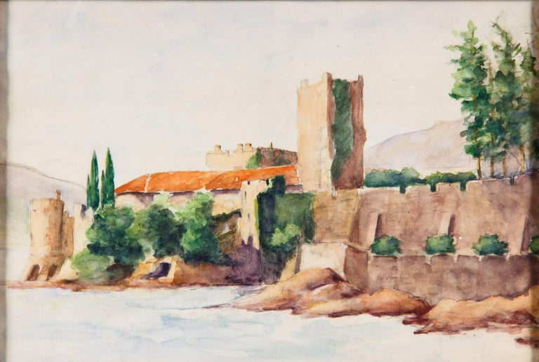 French Framed Watercolor Painting with Fort, France, 20th Century For Sale