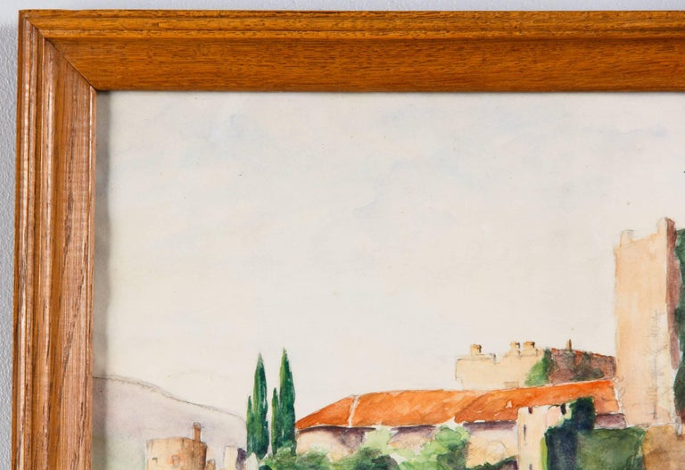 Framed Watercolor Painting with Fort, France, 20th Century In Good Condition For Sale In Austin, TX
