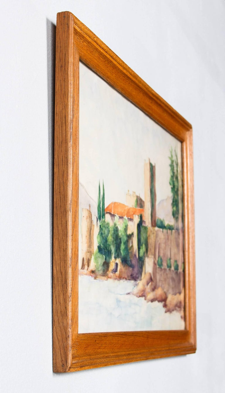 Framed Watercolor Painting with Fort, France, 20th Century For Sale 5
