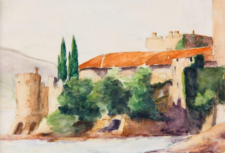 Framed Watercolor Painting with Fort, France, 20th Century For Sale 4