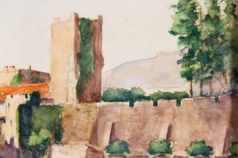 Framed Watercolor Painting with Fort, France, 20th Century For Sale 3