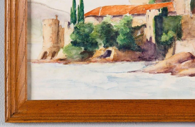 Oak Framed Watercolor Painting with Fort, France, 20th Century For Sale