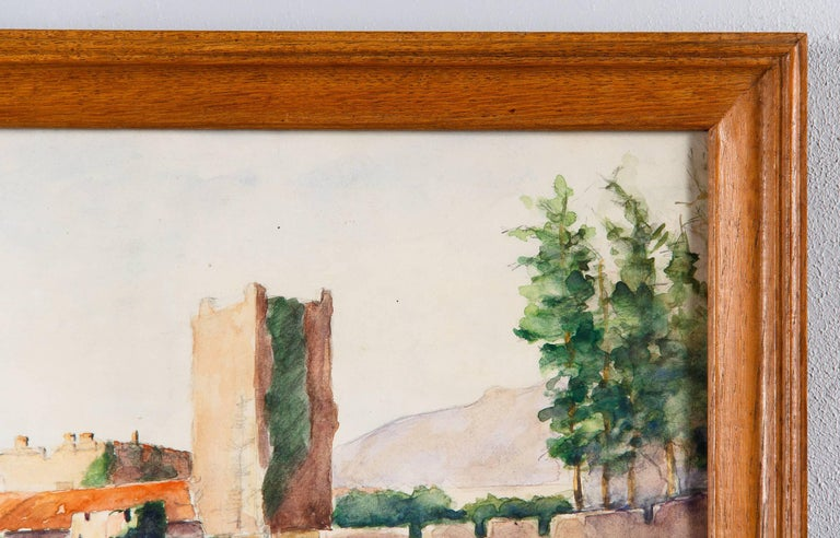Framed Watercolor Painting with Fort, France, 20th Century For Sale 2