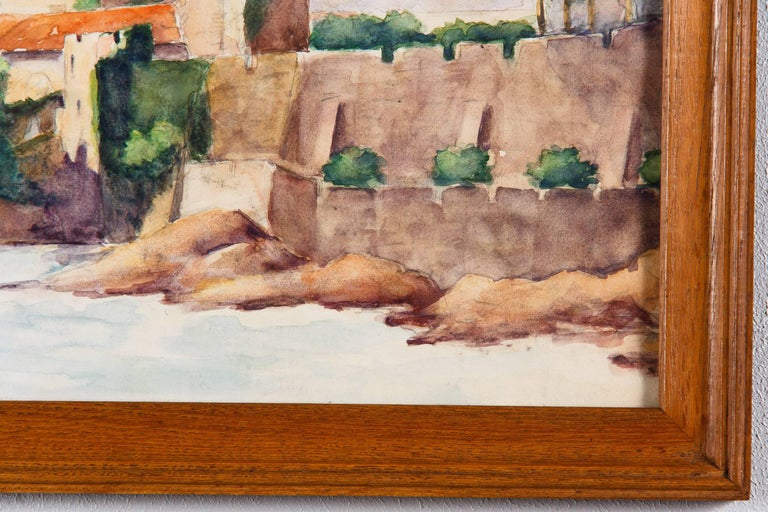 Framed Watercolor Painting with Fort, France, 20th Century For Sale 1