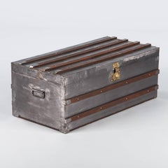 French Antique Silver Metal Trunk, Early 1900s
