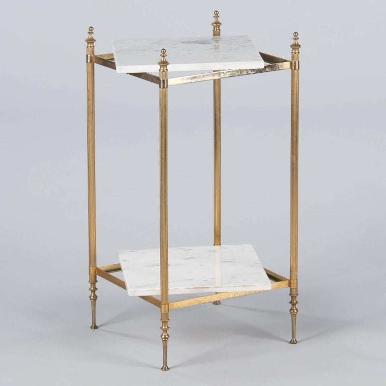 Mid-Century Modern French Two-Tiered Brass Side Table with Marble Tops, 1960s For Sale