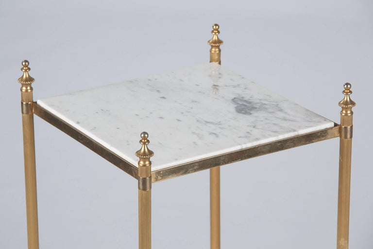 Mid-20th Century French Two-Tiered Brass Side Table with Marble Tops, 1960s For Sale