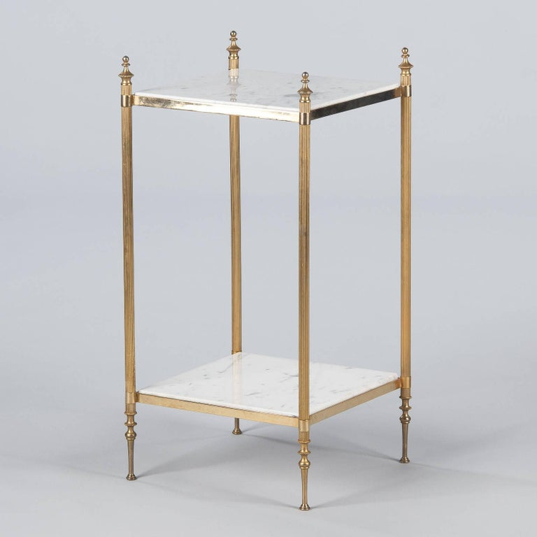 French Two-Tiered Brass Side Table with Marble Tops, 1960s For Sale 8