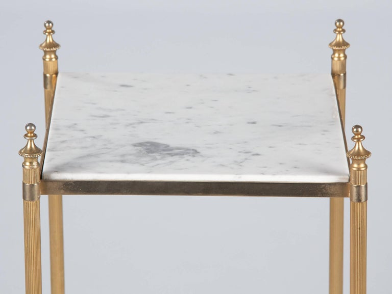 French Two-Tiered Brass Side Table with Marble Tops, 1960s For Sale 10