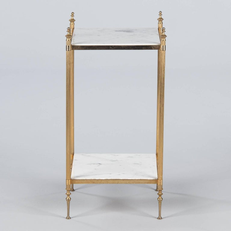French Two-Tiered Brass Side Table with Marble Tops, 1960s For Sale 12