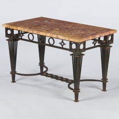 French Art Deco Iron and Marble Table by Gilbert Poillerat, 1930s