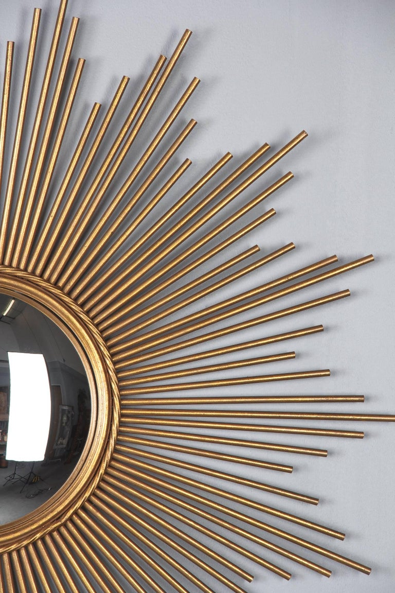 Mid-Century Modern French Midcentury Gilded Metal Sunburst Mirror For Sale