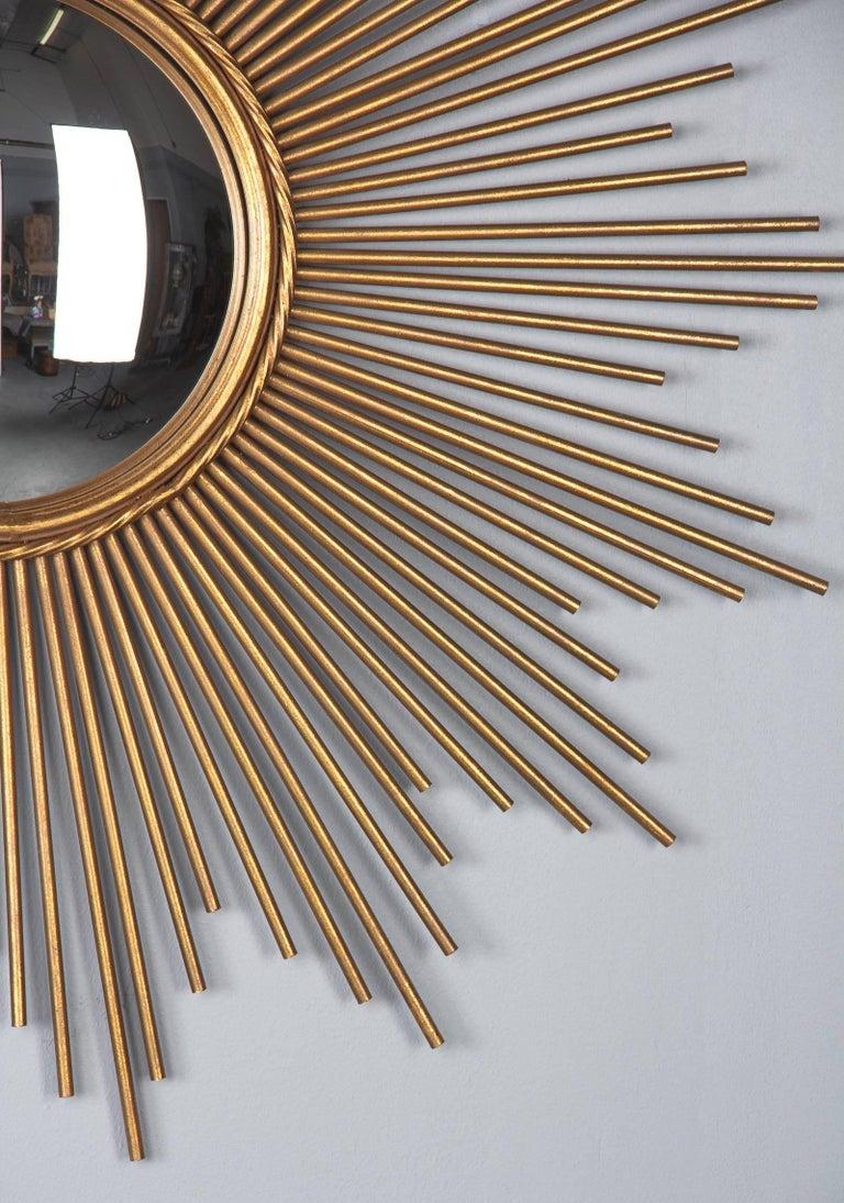 Gilt French Midcentury Gilded Metal Sunburst Mirror For Sale